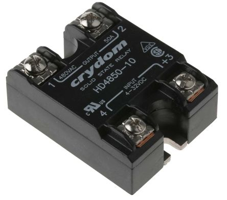 Sensata / Crydom 50 A SPST Solid State Relay, Instantaneous, Panel Mount, SCR, 530 V rms Maximum Load