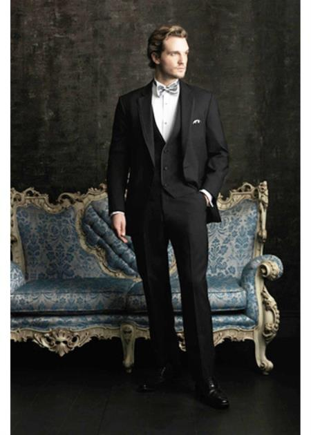 Men's Two Button Allure Men Tuxedo Suits Tuxedos Black
