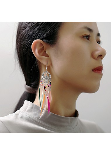 Mother's Day Gifts Feather Design 9.5 X 2.2cm Bead Embellished Earring Set - One Size