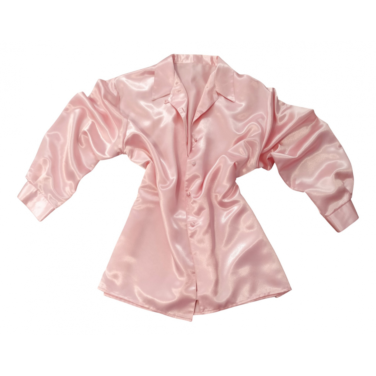 Non Signé / Unsigned Oversize Pink Silk  top for Women L International