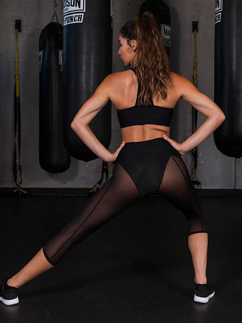 Ericdress Color Block Mesh Patchwork Gym Sports Yoga Pants