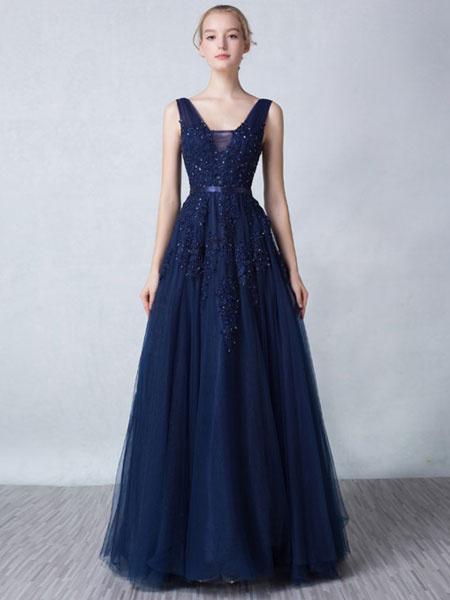 Milanoo Vestido de Baile de color azul marino oscuro con cuello en V Sin espaldo de linea A sin mangas de encaje