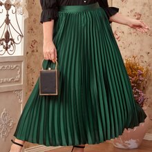 Plus Zipper Side Satin Pleated Skirt