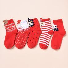 5 pares calcetines de niñitos con patron de Navidad