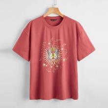 T-Shirt mit Schmetterling und Galaxis Muster