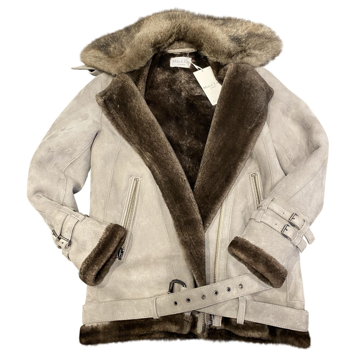 Non Signé / Unsigned \N Grey Shearling jacket for Women 10 UK