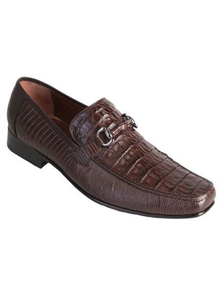 Men's Genuine Caiman Belly & Lizard Slip-On Brown Casual Dress Shoes