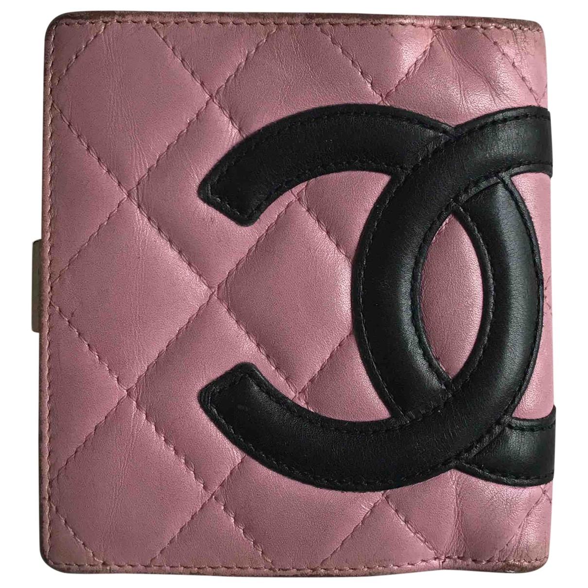 Chanel - Portefeuille Cambon pour femme en cuir - rose