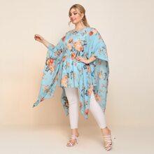 Plus Cloak Sleeve Floral Peplum Top