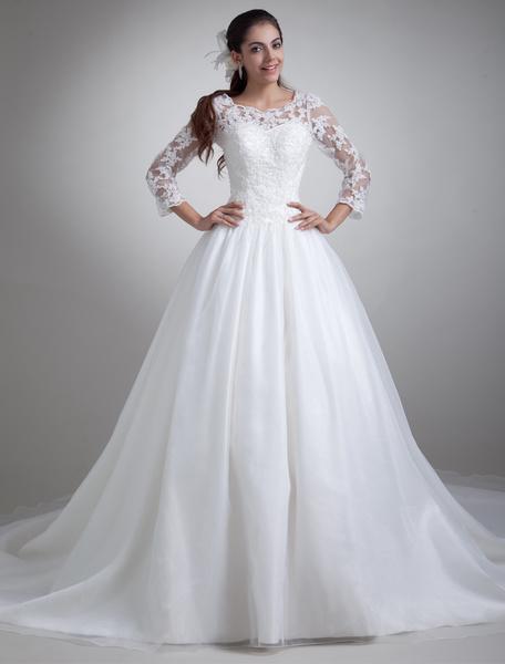 Milanoo Precioso vestido de novia blanco de organdi con escote redondo de cola larga