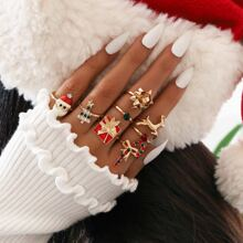 8 piezas anillo con diseño de arbol de Navidad