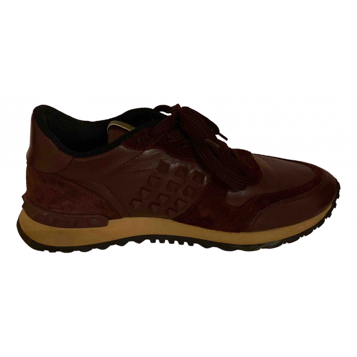 Valentino Garavani Rockrunner Burgundy Leather Trainers for Women 38 EU