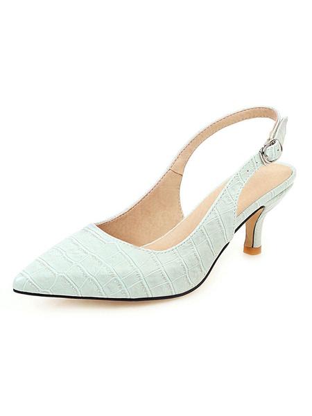 Milanoo Zapatos de tacon de gatito Zapatos de tacon de aguja puntiagudos amarillos Zapatos de tacon de aguja para mujer