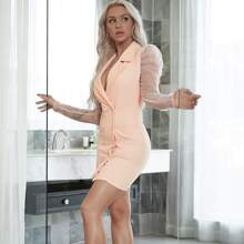 Yilibasha Double Button Sheer Mesh Sleeve Blazer Dress