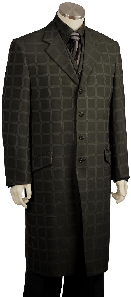 4 Button Black Checked Pinstripe Long Zoot Suit Mens
