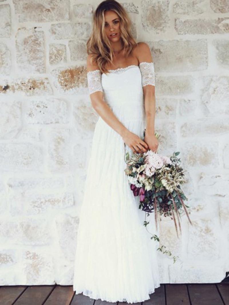 Ericdress Off-The-Shoulder Lace Beach Wedding Dress