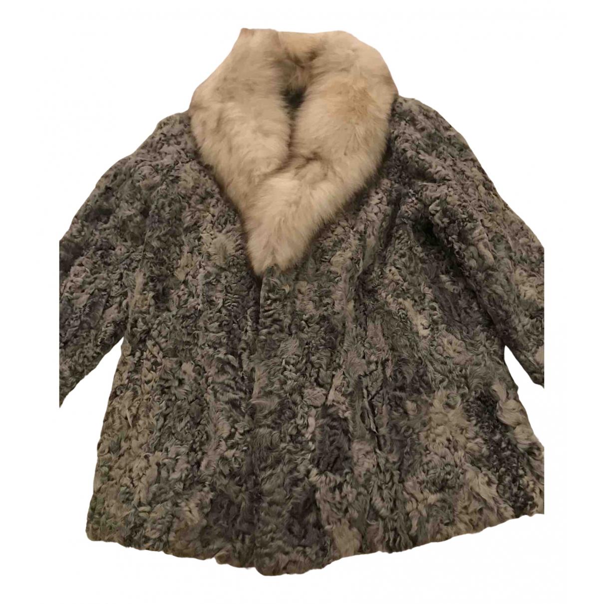 - Manteau   pour femme en astrakan - gris