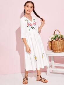 Girls Surplice Neck Floral Embroidered Dress
