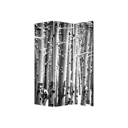 BM26560 3 Panel Canvas Foldable Screen with Birch Print  Black and