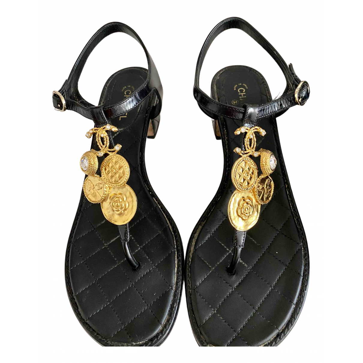 Chanel N Black Leather Sandals for Women 40 EU