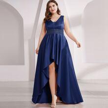 Plus Double V Neck Rhinestone Waist High Low Satin Prom Dress