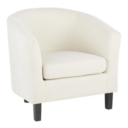 CHR-CLAUDIA BKCR Claudia Contemporary Barrel Chair in Black Wood and Cream Fabric with Cream