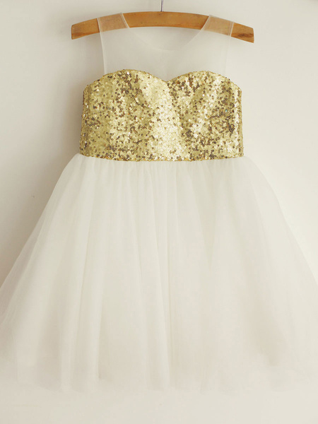 Milanoo A Line Princess Scoop Sleeveless Tulle Knee Length Flower Girl Dresses With Sequin