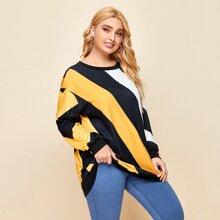 Plus Drop Shoulder Diagonal Stripe Sweatshirt