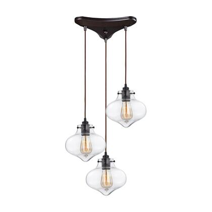 31954/3 Kelsey 3 Light Pendant in Oil Rubbed Bronze and Clear
