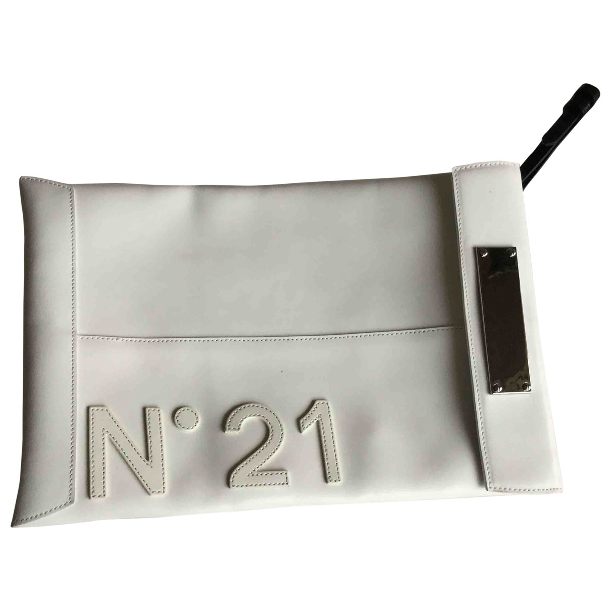 N°21 \N Clutch in  Weiss Leder