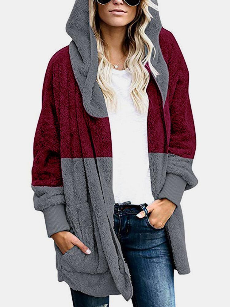 Color Block Long Sleeve Hooded Zipper Plush Coat