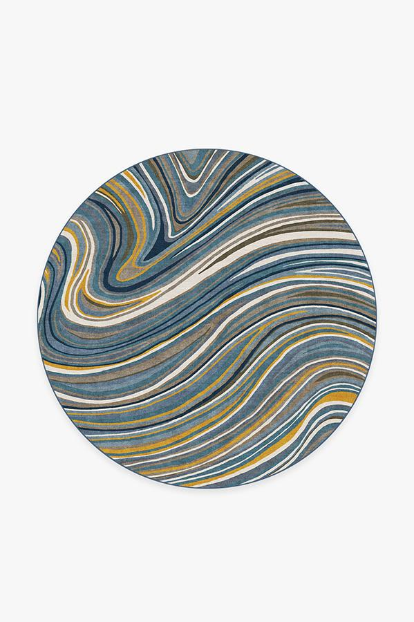 Washable Rug Cover | Agate Golden Azure Rug | Stain-Resistant | Ruggable | 6' Round