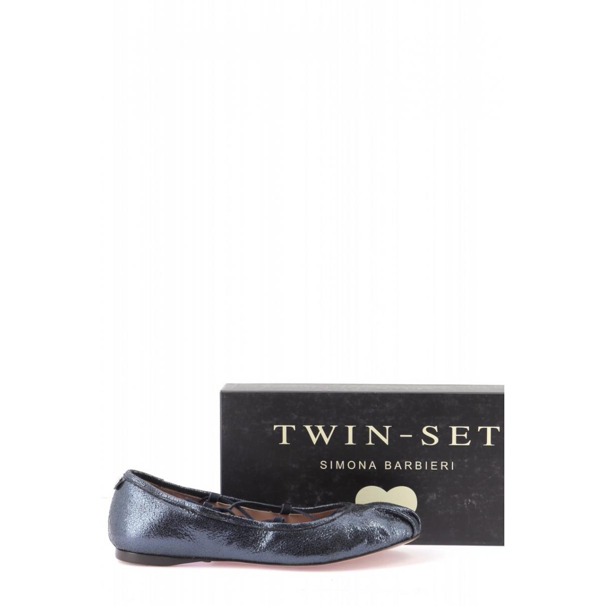 Twin Set \N Ballerinas in  Schwarz Leder