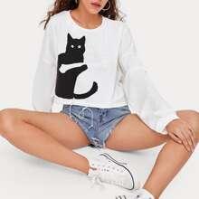 Drop Shoulder Tie Hem Cat Print Sweatshirt