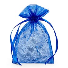 Cord Royal Blue Organza Bags - Quantity: 10 - Fabric Bags Width: 12 Height/Depth: 14 by Paper Mart