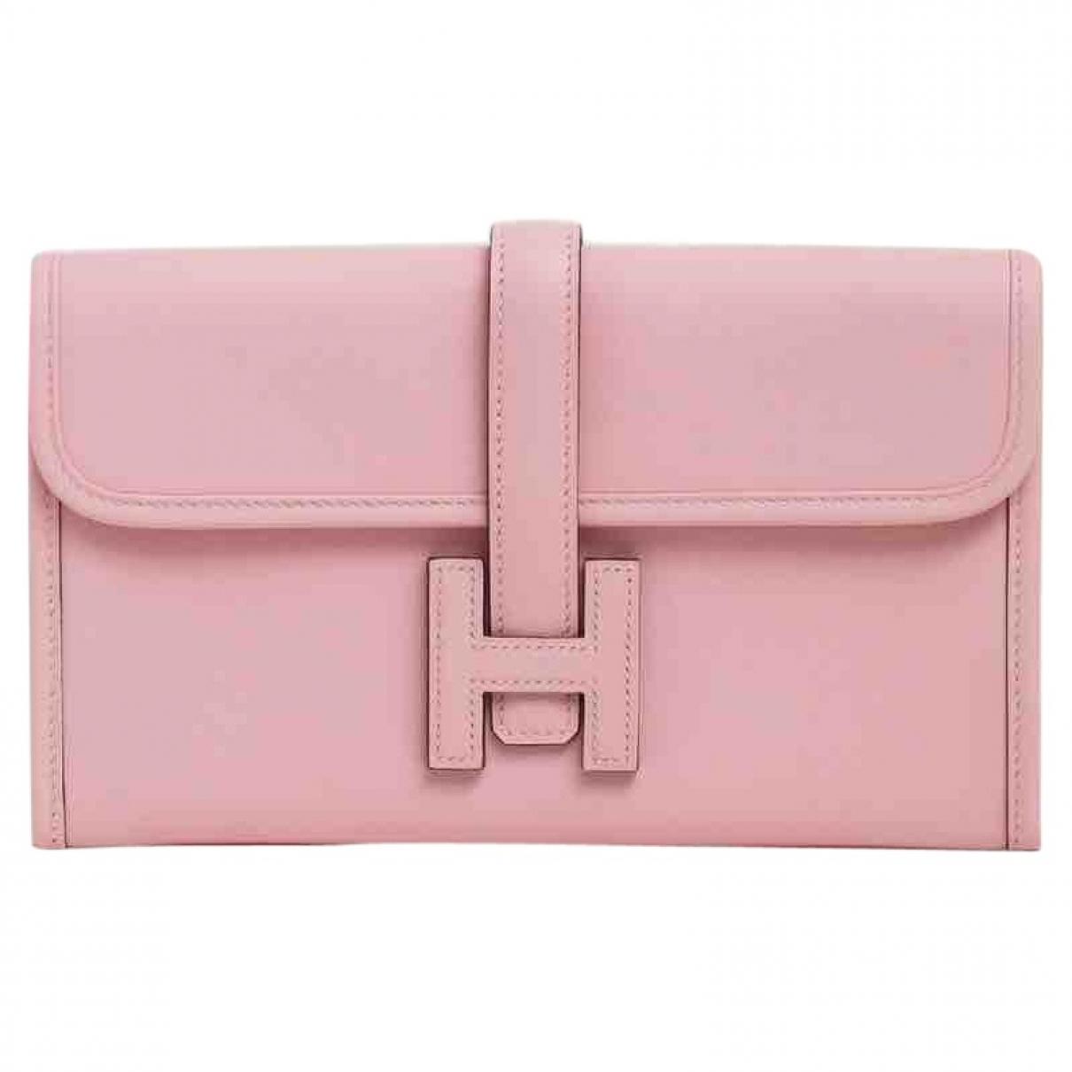 Hermes - Pochette Jige pour femme en cuir - rose
