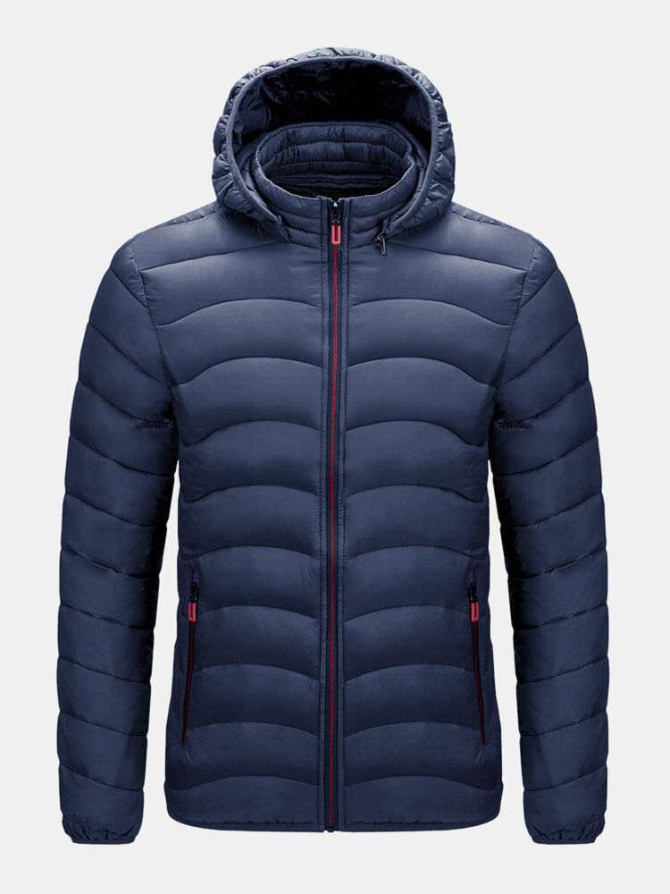 Mens Warm Thick Zipper Up Drawstring Hooded Solid Down Puffer Jacket