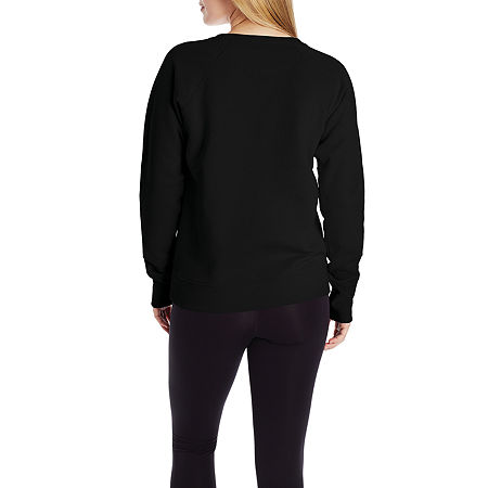 Champion Womens Crew Neck Long Sleeve Hoodie, X-large , Black