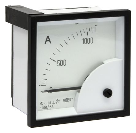 HOBUT D72SD Analogue Panel Ammeter 0/1200A For 1200/5A CT AC, 72mm x 72mm Moving Iron