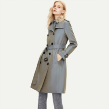 Jazzevar Double Button Front Belted Trench Coat