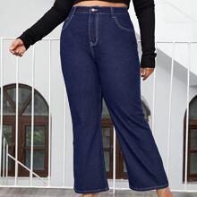Jeans mit dunkler Waesche und hoher Taille
