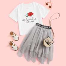 Girls Floral & Slogan Graphic Tee With Letter Tape Mesh Skirt