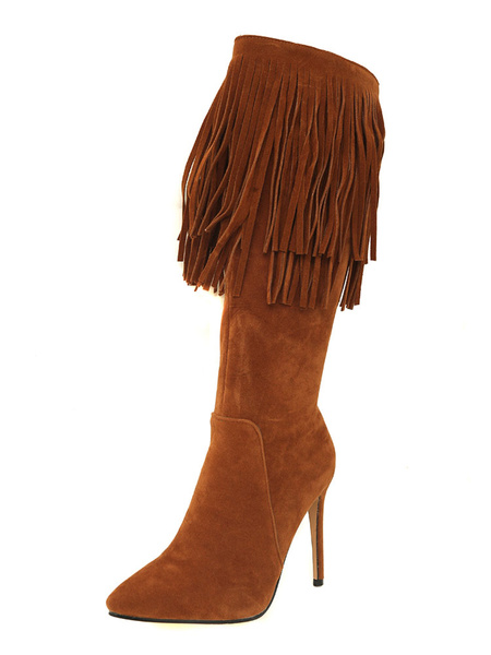 Milanoo Knee High Boots Womens Micro Suede Tassels Fringed Pointed Toe Stiletto Heel Boots