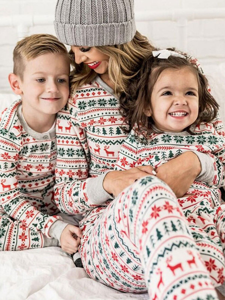 Milanoo Christmas Family Pajamas Set White Cotton Blend Christmas Pattern Holidays Parent Child Costumes