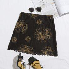 Chinese Dragon Print Lettuce Hem Mesh Skirt