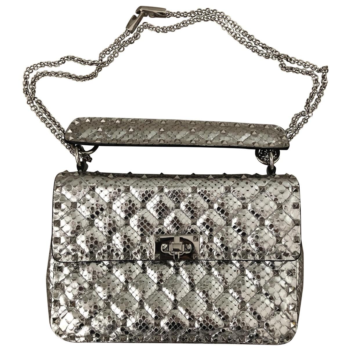 Valentino Garavani Rockstud spike Handtasche in  Silber Python