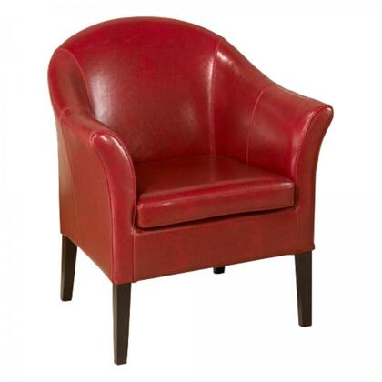 1404 Collection LCMC0011RE Accent Club Chair with Flared Armrest  Espresso Finish Tapered Legs and Bonded Leather Upholstery in Red