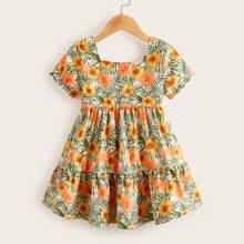 Kleinkind Maedchen Kleid mit Blumen & Pflanzen Muster und Raffungsaum