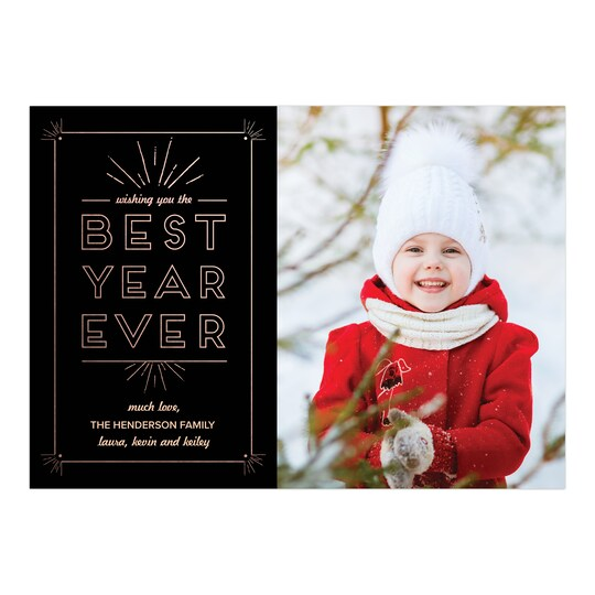 20 Pack of Gartner Studios® Personalized Best Year Ever Flat New Year Photo Card in Black | 5