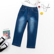 Jeans mit elastischer Taille und Waesche